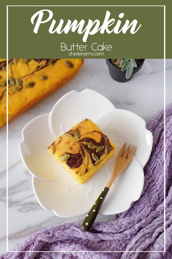 Moist and tender pumpkin butter cake with chocolate swirls, topped with pumpkin seeds. A less sweet buttery cake, which you'll love even for a breakfast treat! Save this easy cake recipe for laters! via @cherienoms