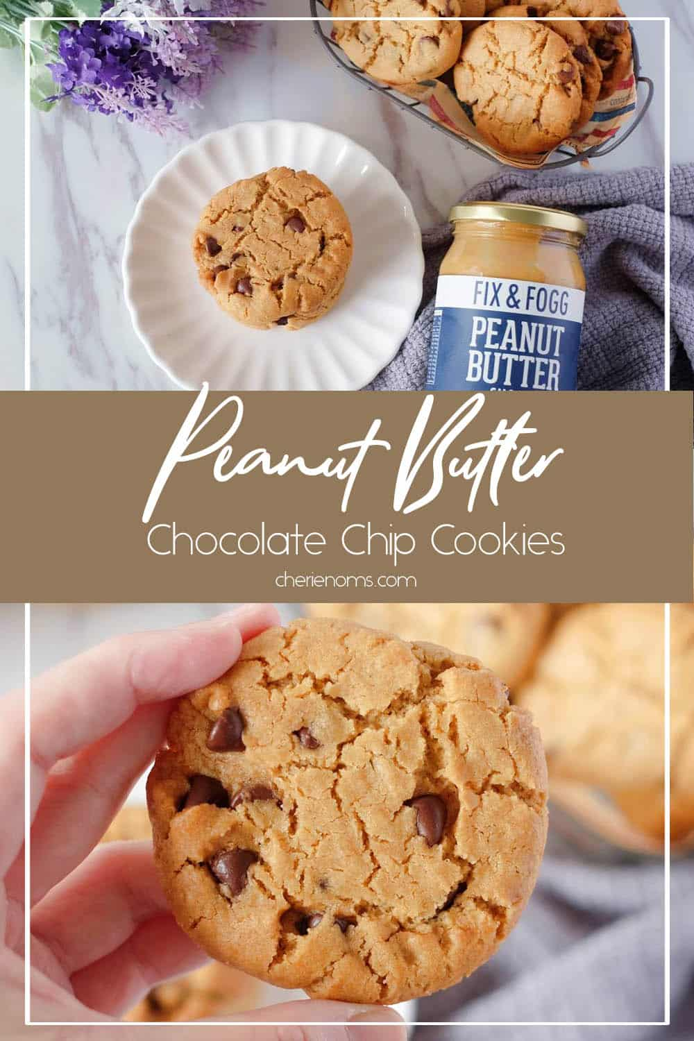 Delicious thick and chewy Peanut Butter Chocolate Chip Cookies. Easy one-bowl recipe, made with natural peanut butter and other simple ingredients! Save this super easy cookie recipe for laters! via @cherienoms