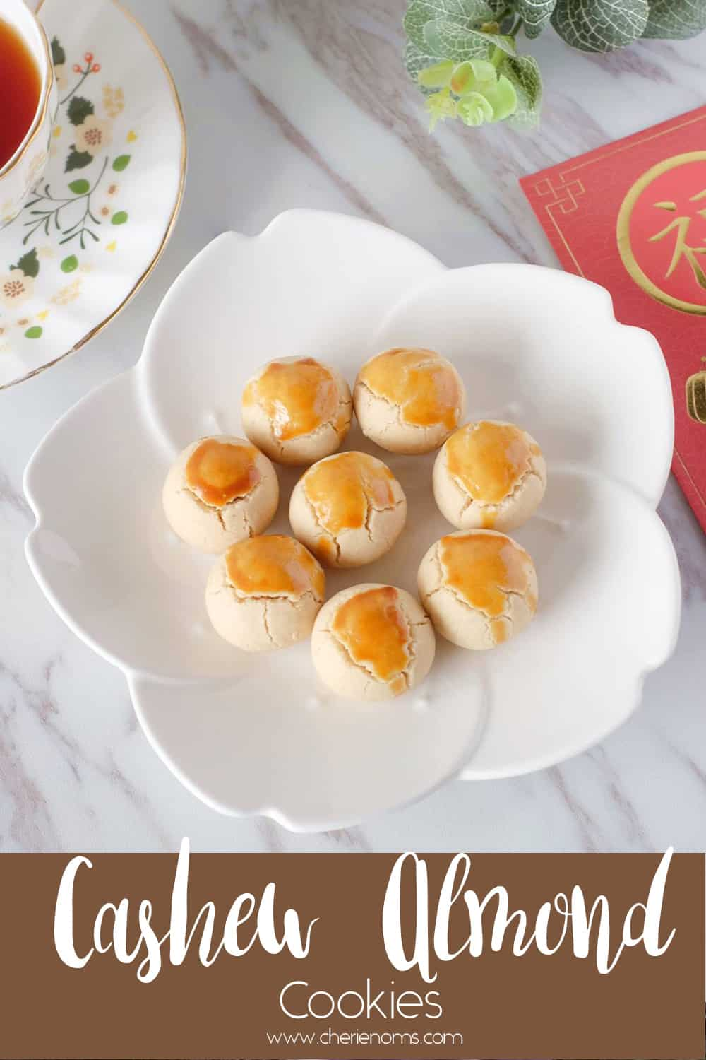 These cashew almond cookies are dense and have a melt-in-mouth texture! Celebrate this Chinese New Year with these healthier, less sweet cookies made with natural cashew nut butter. Save this recipe for later! via @cherienoms